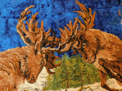 """Deer Stags Fighting HUGE 71""""x47"""" Mancave Plush Tapestry Wall Throw Area Rug"""