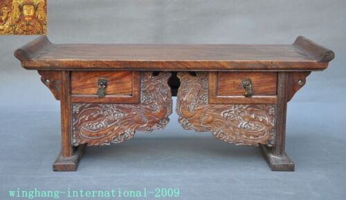 Chinese Huanghuali Old wood carved Phoenix Bird drawer coffee table Desk statue