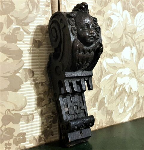 Angel wood carving corbel bracket Antique french architectural salvage 17 th