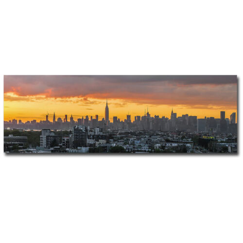Manhattan Skyline from Brooklyn Gallery-Wrapped Canvas Giclee Art(12 in x 36 in)