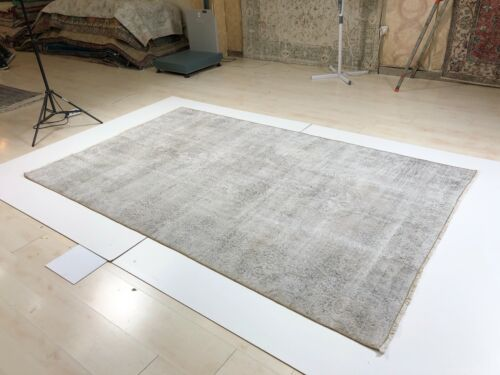 5X8 VINTAGE HANDMADE OVERDYED GRAY COLOR WOOL AREA DISTRESSED MODERN RUG