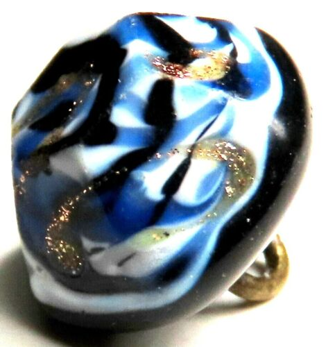 LOVELY ANTIQUE 1830'S-1850'S GLASS CHARM STRING BUTTON w/TWISTED CANE OVERLAYS