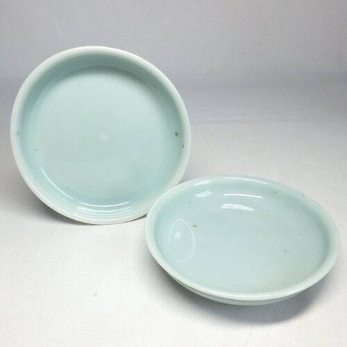 D0127: Real Japanese pair of plate of OLD KO-IMARI blue porcelain with good tone