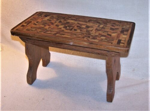 Nice Old Vintage Marquetry Inlaid Foot Stool - Bootjack Ends, Splayed Legs