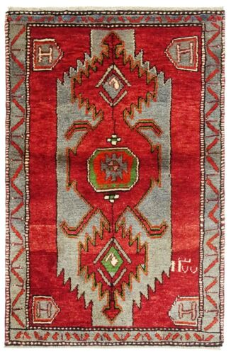 3 x 4 Hand Knotted Blue Red Tribal Wool Nomadic Tarom Oriental Rug