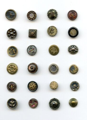 """24 VERY SMALL METAL buttons--LOTS of DESIGNS--7/16"""" & UNDER"""