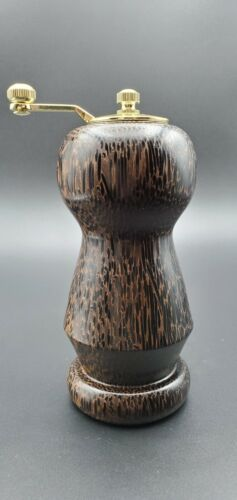 Salt and Peppermill 6 inches tall, Handmade from Black Palm Wood.