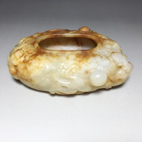 CHINESE ANTIQUE HETIAN JADE CARVED THREE DRAGON BRUSH WASHER