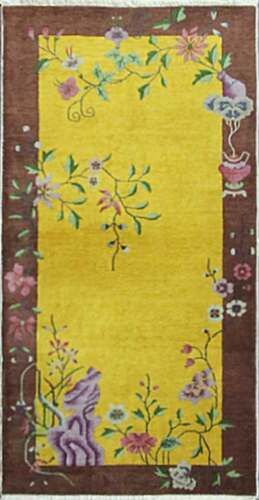 Antique Art Deco Chinese Rug, The Golden Dynasty   3 x 6' #17249