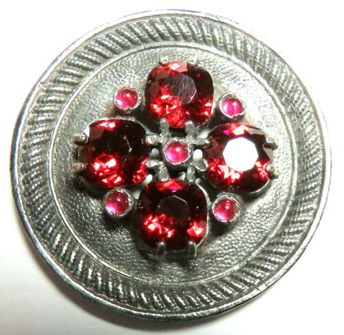 ANTIQUE FRENCH WHITE METAL GAY 90'S BUTTON w/RUBY RED FACETED GLASS JEWELS