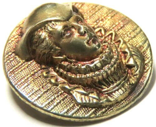 ANTIQUE VICTORIAN RUBY TINT GILT BRASS PICTURE BUTTON ~ MARY QUEEN OF SCOTS