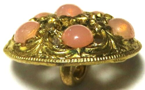 BEAUTIFUL ANTIQUE FRENCH LACY FILIGREE BRASS BUTTON w/PINK PATE DE VERRE JEWELS