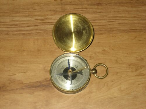 Antique Brass Maritime Compass-Made In France-Hinged Lid
