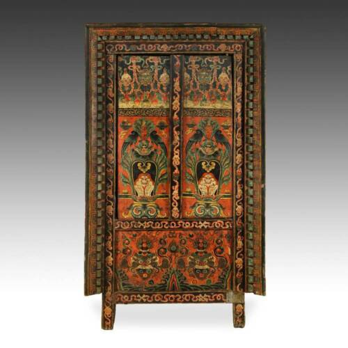 ANTIQUE CABINET TWO DOOR PAINTED HIMALAYAN WOOD TIBET CHINESE FURNITURE 19TH C.