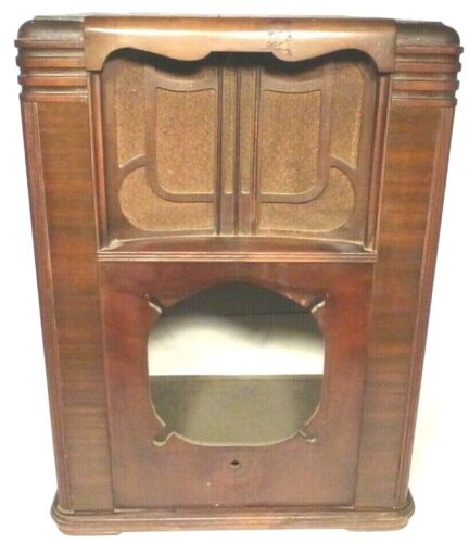 """vintage ZENITH TOMBSTONE 6-B-129 / ch 5635 part: WOOD SHELL. 23""""  X. 17"""". X. 12"""""""