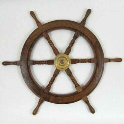 Brass Wooden 24 Inch SHIP WHEEL  Ship Steering  Wall Boat Nautical Decor Vintage