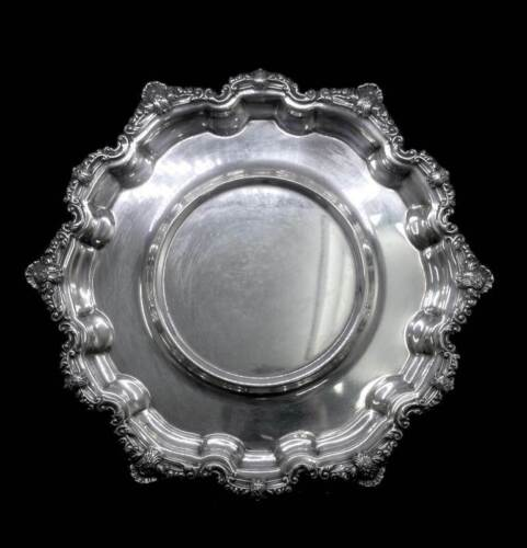 Vintage Viners silver plated round serving tray with insert for bowl