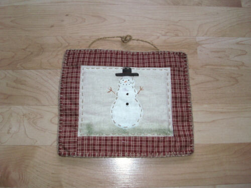 Snowman Hanger Primitive Country Decor  Red Checked Frame Winter Decoration