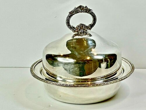 FABULOUS ANTIQUE SILVER PLATED SERVING DISH DOME COVER HECWORTH ENGLAND C 1940'