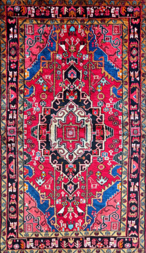 """Stunning C 1960 Vintage Exquisite Hand Made Rug 4' 1"""" X 7' (INV#5760)"""