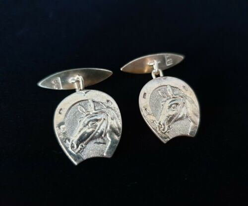 Rare Antique Gold Wash Gilt 84 Imperial Russian Silver Horseshoe Lucky Cufflinks