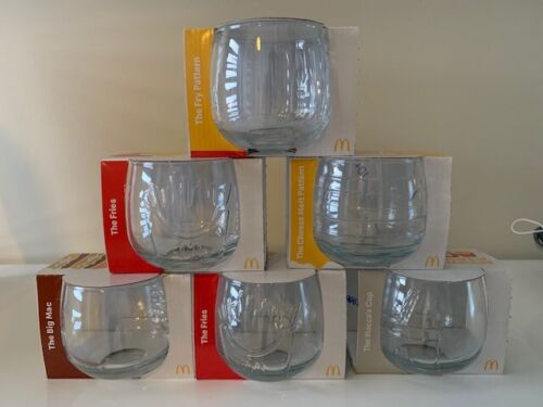 MCDONALDS 2021 COMPLETE SET OF 6 WOBBLY GLASS 50 YEARS -- FREE POSTAGE