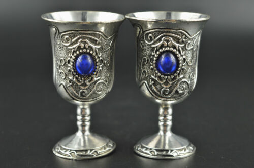 Noble Decor copper Silver Carved Totem Inlay Blue Bead Rare Lucky Pair Wine Cup