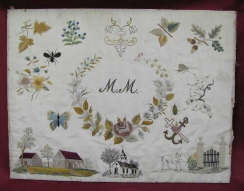 1920s ANTIQUE HAND SEWN WALL TAPESTRY SILK THREADS GOLD TINSEL