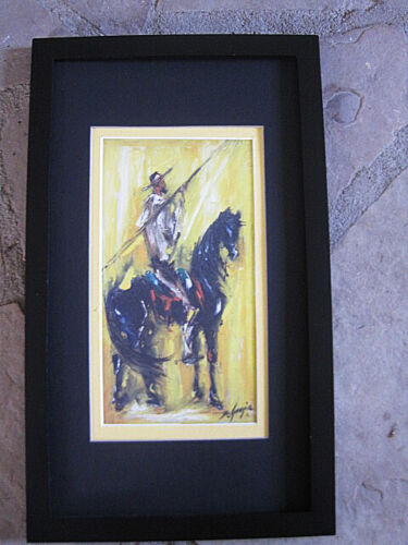 DeGrazia  Don Quijote matted print, soldi black wood frame  glass 14 x 8  signed