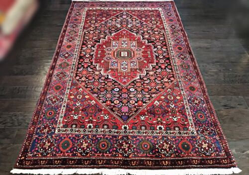 """C 1950 Authentic Vintage Exquisite Hand Made Rug 4' 5"""" x 7' (INV#1129)"""
