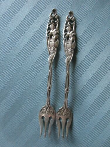 2 DOMINICK HAFF Cocktail Forks Labors of Cupid STERLING SILVER Shell Fish FORK