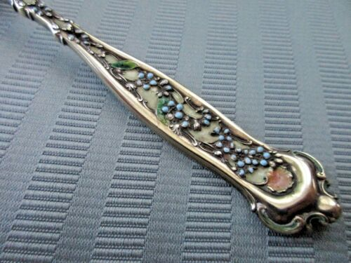WHITING DRESDEN Enamel 1896 SCOOP Serving STERLING SILVER GOLD WASH NM Cheese