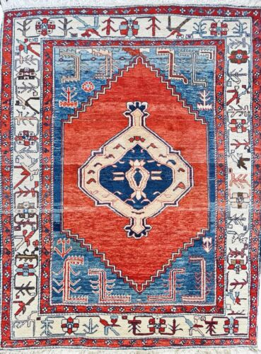 """C 1980 Authentic Vintage Exquisite Hand Made Rug 4' 6"""" x 6' 2"""" (INV#001)"""