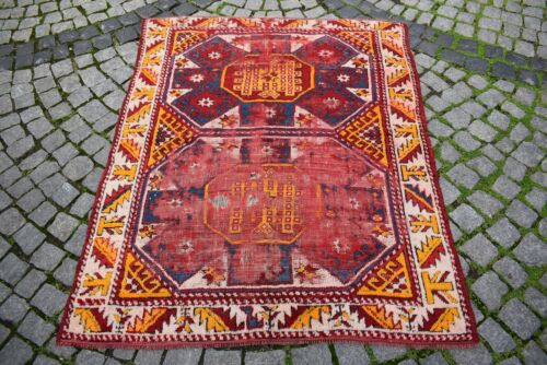Fabulous Antique Rug West Anatolian Awesome Collector's Piece Distressed Rug