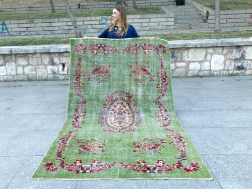 FLORAL PATTERN GREEN RED LARGE TURKISH OUSHAK AREA RUG, 100% WOOL AND HANDMADE