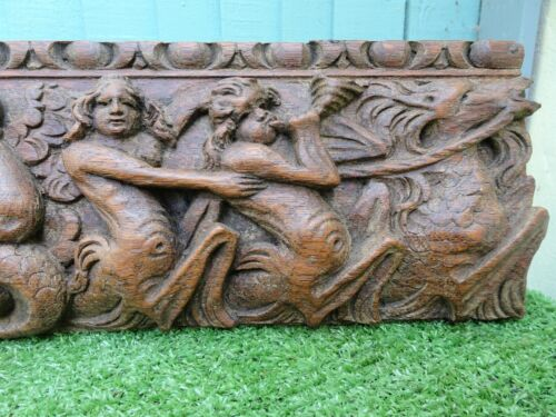 STUNNING 16thC GOTHIC WOODEN OAK RELIEF CARVED PANEL, FIGURES, SEA HORSES c1590s <br/> PANEL WITH ANGELS, CHERUBS, SEAHORSE CARVINGS & OTHER