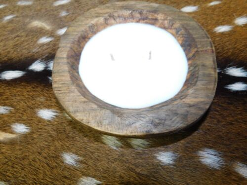 Carved Wooden Dough Bowl Soy Wax Candle Scented WHITE BIRCH 1/2 LB ROUND
