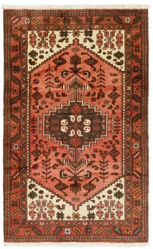 4 x 7 Hand Knotted Wool Coral Ivory Tribal Nomadic Zanjan Oriental Rug