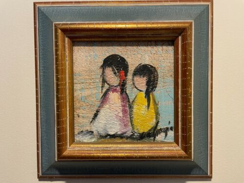 Ettore Ted DeGrazia Native Americans Original Oil Painting on Wood Tile