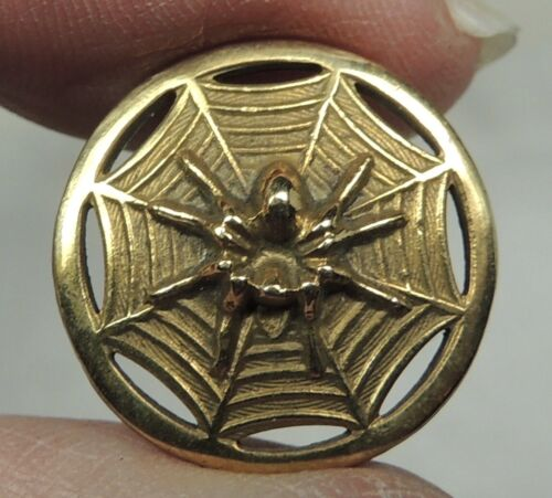 ANTIQUE SMALL BRASS PICTURE BUTTON ~ SPIDER IN HIS WEB