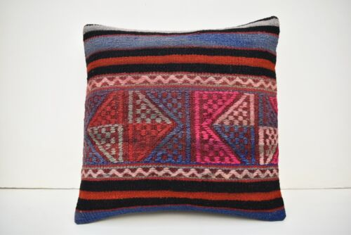 16''x16'' Embroidered Pattern Vintage Turkish Handwoven Kilim Pillow Cover Style