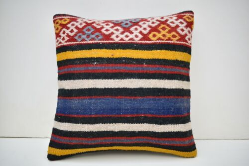 15''x15'' Embroidered Pattern Vintage Turkish Handwoven Kilim Pillow Cover Style