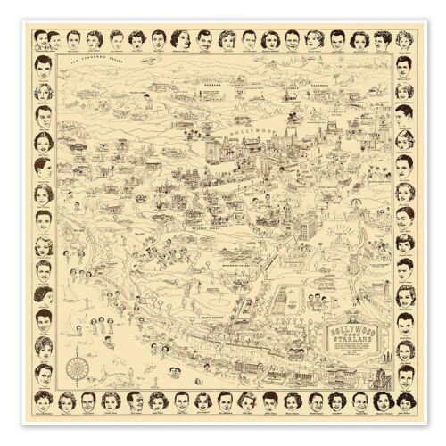 Hollywood California Starland - Tourist Map of the Movie Stars Homes circa 1937