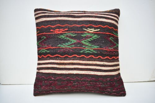 17''x17'' Embroidered Pattern Vintage Turkish Handwoven Kilim Pillow Cover Style