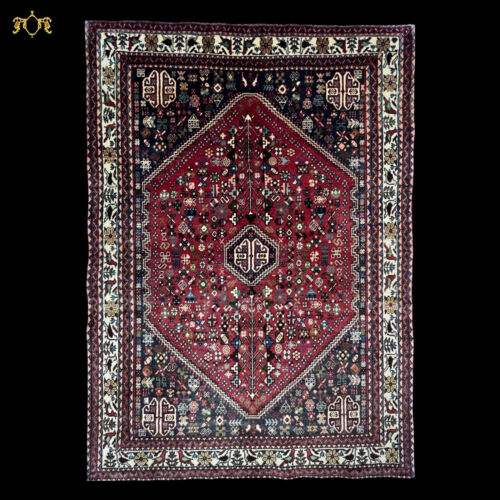 """C 1970 Authentic Vintage Exquisite Hand Made Rug 3' 7"""" x 5' (INV#78)"""