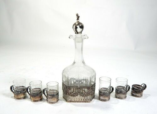 Antique Etched Glass Cordial Set w/Sterling Silver Silver Repousse #2253