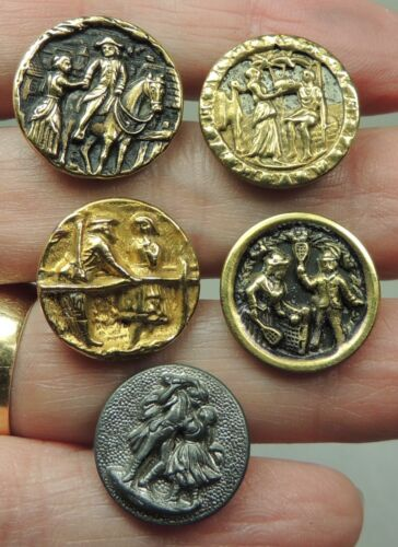ANTIQUE SMALL PICTURE BUTTONS ~ COUPLES ~ LOT OF 5