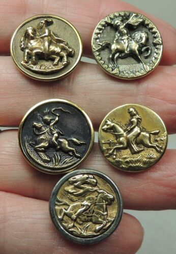 ANTIQUE SMALL PICTURE BUTTONS ~ RIDER ON HORSEBACK ~ LOT OF 5 HORSES
