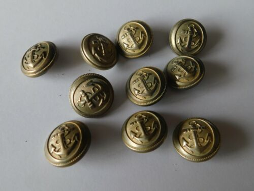 MARINE NATIONALE : LOT DE 10 BOUTONS ARGENTES 21MM 10 SILVER FRENCH NAVY BUTTONS