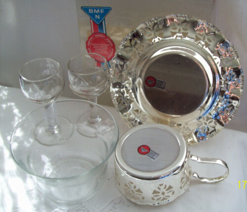 BMF Silverplate Coffee Cup Base & Glass Insert Saucer & Two Tiny Port Glass NIB